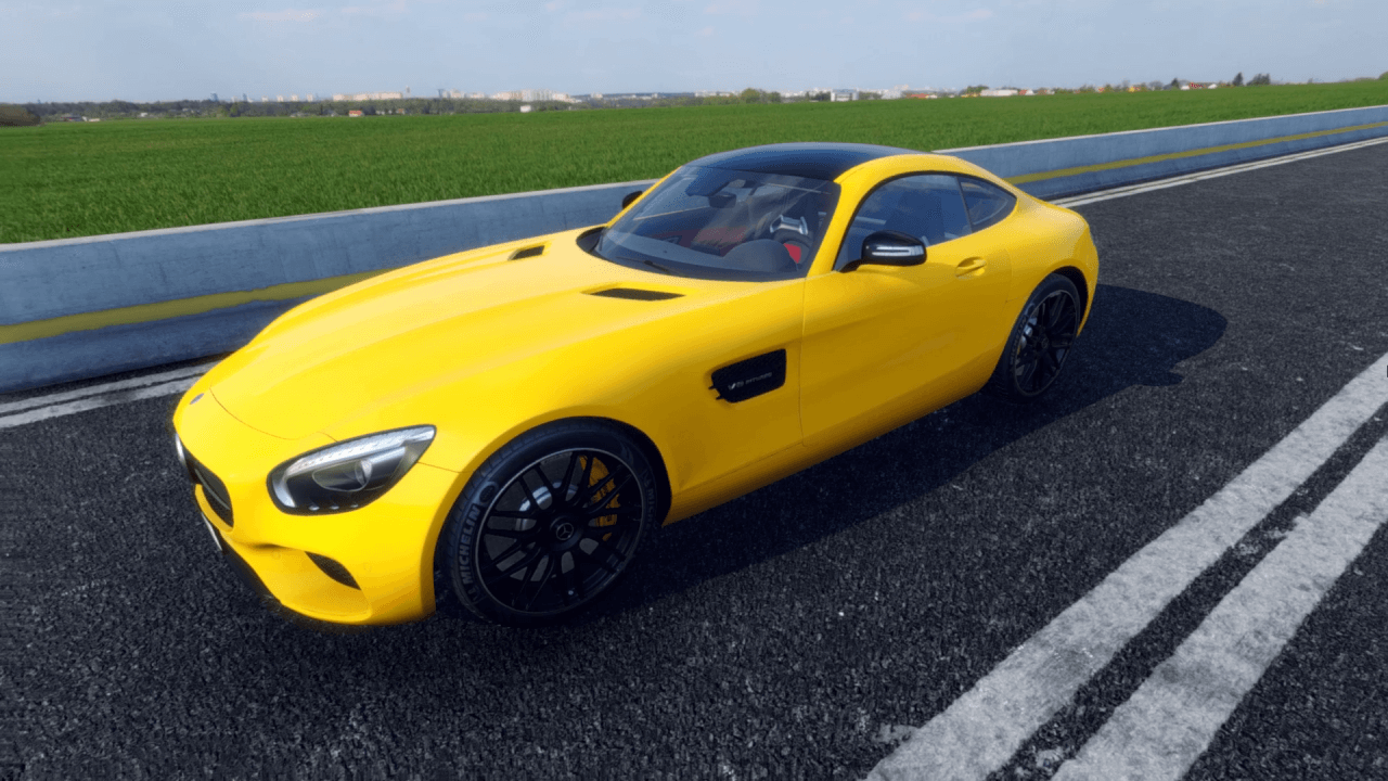 Yellow Mercedes AMG GT